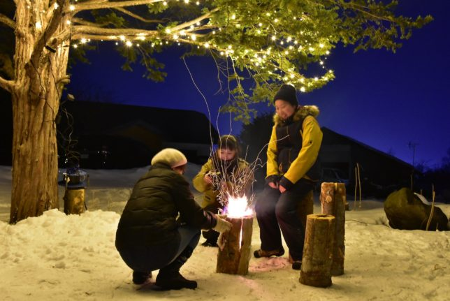 鹿追で無音とスウェーデントーチのたき火を楽しむ夜アクティビティ
