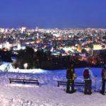 札幌の旭山記念公園からスノーシューで夜の森と夜景を楽しむツアー