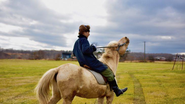 恵庭市のホースガーデンムラナカでどさんこ乗馬〜川渡りの迫力