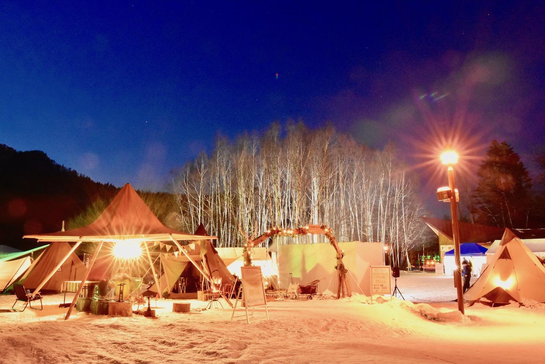 定山渓自然の村の冬キャンプイベント会場