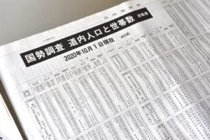 2020年の国勢調査、北海道の人口を伝える新聞紙面